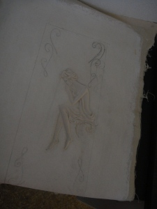 Sculpted figure for right side on canvas