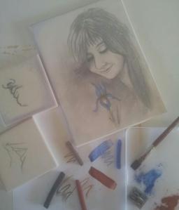 Conte crayons, paper & clay slabs