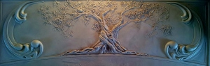 4 ft Custom Relief Art tile ''The Wise old Tree""
